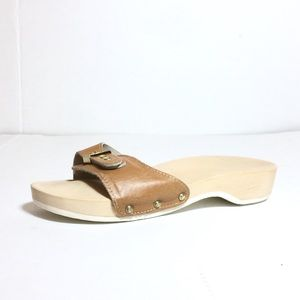 Dr Scholl's sandals original vintage tan leather